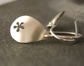 Daisy tears sterling silver earrings - everyday earrings, simple, elegant, timeless, a favorite - saw pierced by hand