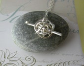 Crochet me something necklace - gift for crocheter, crocheting necklace - handmade in sterling silver