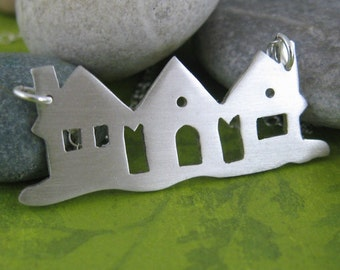 Houses on the jetty sterling silver necklace - beach house, my cottage, row house, summer home, perfect vacation getaway, saw pierced,