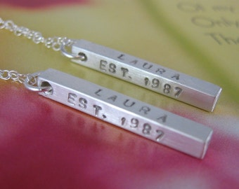 Two BFF bar necklaces - personalized sterling silver - best friends, couples, new moms, keepsake - Mothers Day, Valentines Day