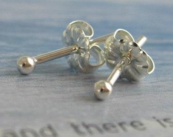 18 gauge dots sterling silver stud earrings - thicker gauge, second piercings, everyday earrings, 2 dollars shipping