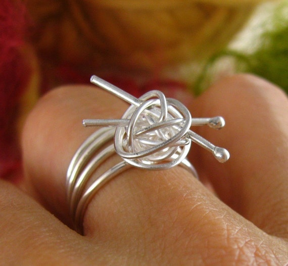As seen in May issue of Yarnwise UK  - knit me somethin' ring - sterling silver knitting ring, gift for knitter, for the love of knitting