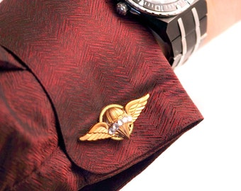 Airship Captin Aviator Aviatrix Balloon Pilot CuffWings Cufflinks Crystals