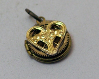 Gear Heart - Steampunk Petite Locket Charm