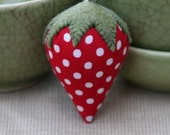 sweet strawberry red with white polka dots