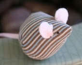 itty bitty mouse brown and blue and cream stripes
