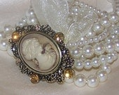 Wedding Bridal Vintage-Inspired Pearl and Cameo Bracelet with Bow