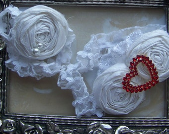 Wedding Garter in Sweetheart Red Brooch and White Silk Roses with Toss Garter