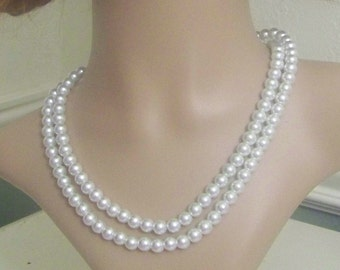 Wedding Double Strand Glass White Pearl Necklace with Earrings