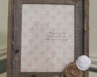 Rustic Wedding Wood Frame with Burlap Rose and Leaves