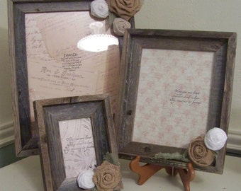 3 Rustic Wedding Barnwood Picture Frame with Burlap Flowers