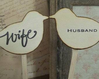 Rustic Wooden Cake Topper Birds