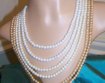Women's 6 Strand Pearl Vintage-Inspired Necklace and Earrings, Wedding Pearls Ivory, White, Champagne