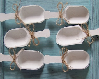 "6 Wooden Candy Scoops, PLEASE NOTE 4"" LONG for Wedding Candy Table-Grooms Table"