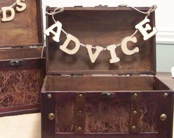Rustic Wedding ADVICE Box With Banner