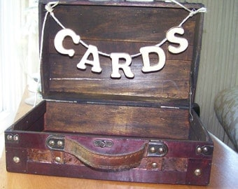 "Rustic Small Wedding Card Box with Distressed Wooden Letter ""CARDS"""