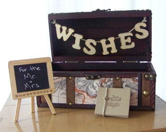 Wedding Card Wish Box, Card Box, Advice Box, Travel Theme WEdding, Wooden Banner,