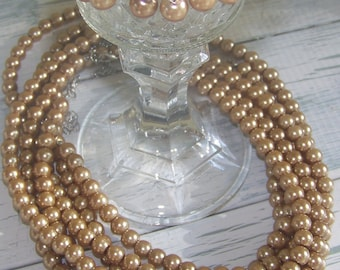 Wedding Bridesmaids Champagne Pearls- 5 sets of Necklace and Earrings