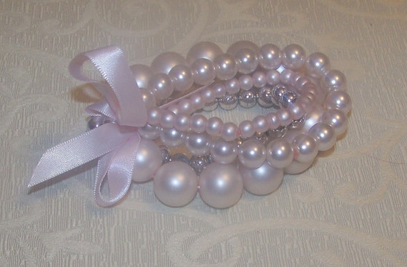 Wedding Bridal Light Pink Pearl Bracelet