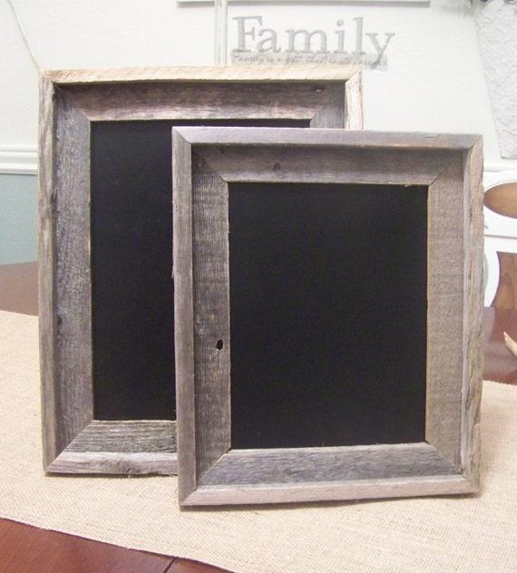 Wooden Chalkboard with Rustic Barn Wood Handmade Frame