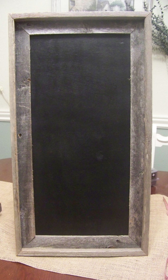 Wooden Chalkboard with Rustic Barn Wood Handmade Frame