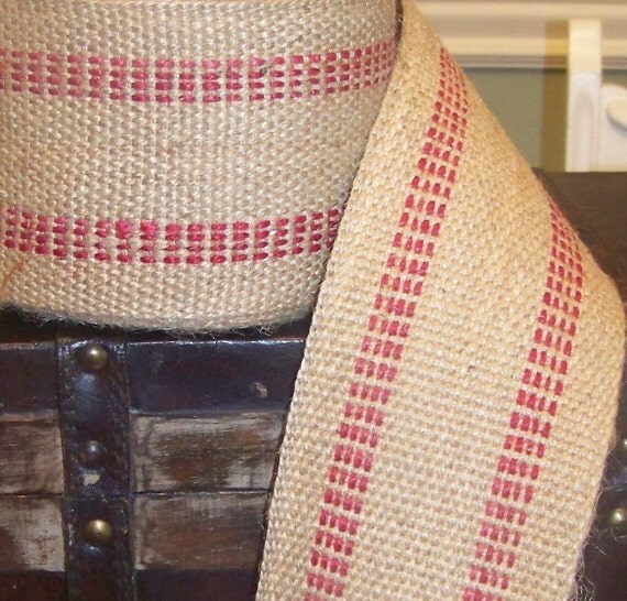 Burlap Ribbon- 1 yard- Red Jute Webbing