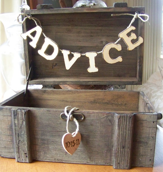 Rustic Wedding ADVICE Box with Date  of Wedding