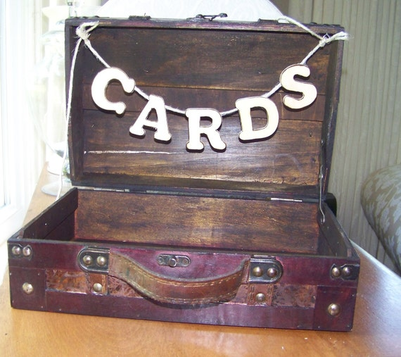 """Rustic Small Wedding Card Box with Distressed Wooden Letter """"CARDS"""""""