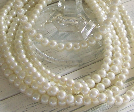 5 Sets of Ivory Pearl Bridesmaids Necklace and Earrings-Glass Beads