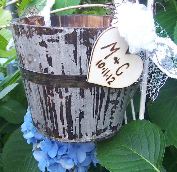 Shabby Chic Wedding Flower Girl's Basket Bucket Rustic Chic with Lace and Wooden Heart