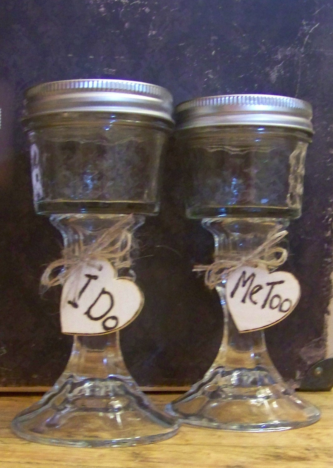 Rustic Mason Jar Wedding Wine Glasses For Bride And Groom