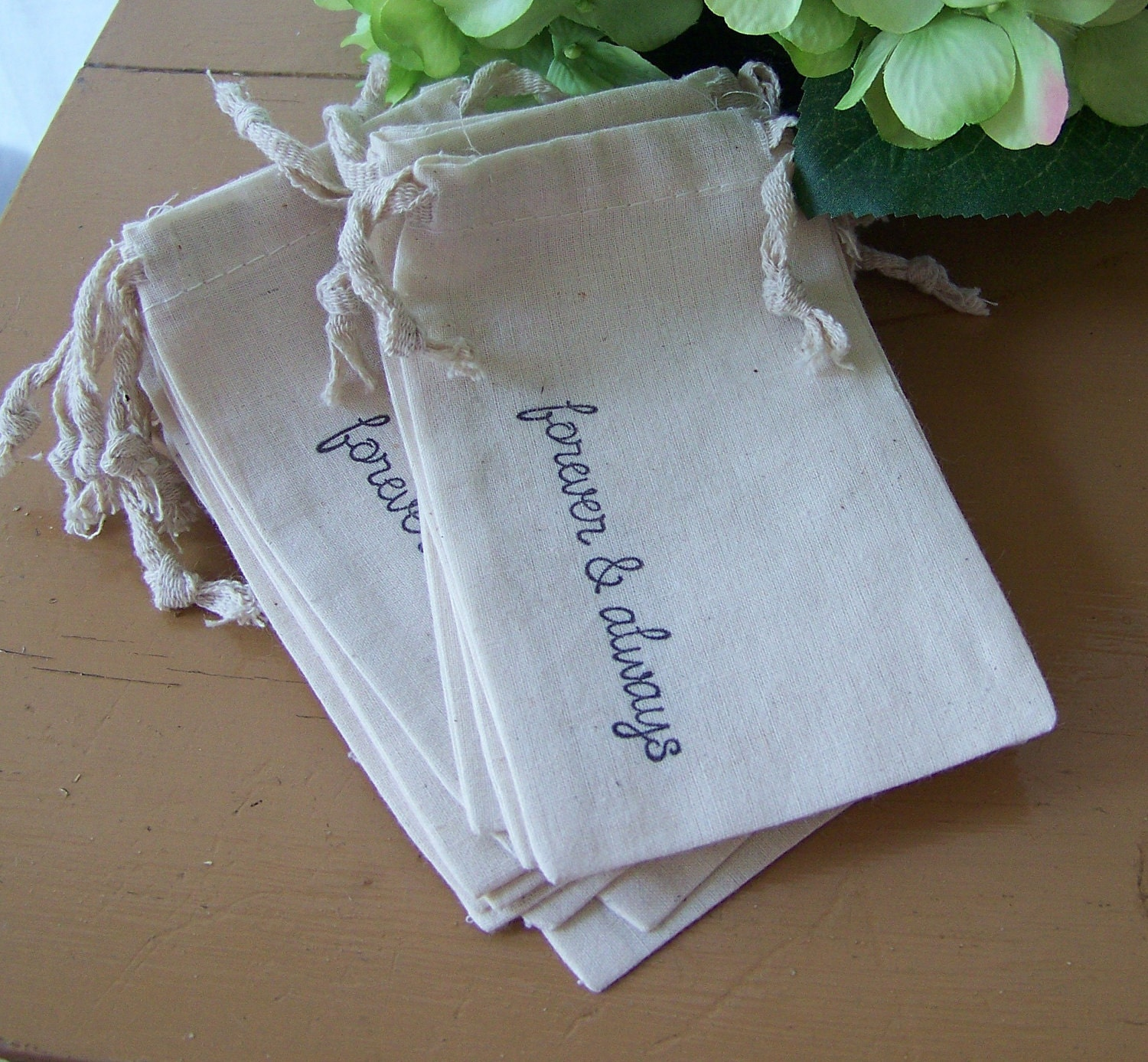 12 Wedding Muslin Favor Bags-Bride Groom by sugarplumcottage