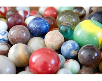 Marbles - Fine Art Photograph - Whimsical Still Life Photo - Marble Collection Print - Aggies Photo - Close Up of Marbles Photo - Wall Art