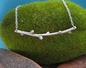 Sterling Silver Twig Necklace with Buds