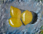 "Lemons I - Acrylic 8""x11"" on Charcoal Paper"