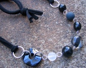Eco-Friendly T Shirt Yarn Statement Necklace - Black Is The New Black - with Recycled Vintage Black and Clear Plastic  Beads