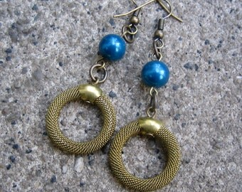 Eco-Friendly Dangle Earrings - Soho Nights - Recycled Vintage Brass Mesh Hoop Beads and Deep Blue Glass Pearls