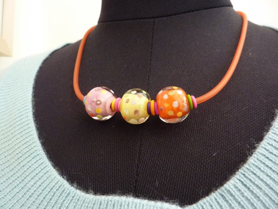 Juggling Act ... handmade glass bead choker by Lush Lampwork .. UK SRA British Lampwork