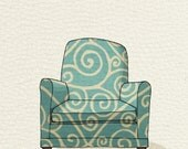 modern chair 1 (teal swirl) - 5x7 print