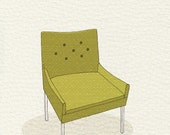 modern chair 4 (yellow green dot) - 5x7 print