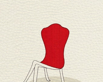 lady chair (red silk) - 5x7 print