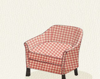 club chair (pink houndstooth) - 5x7 print
