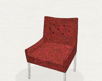 modern chair 4 (red and pink tweed) - 5x7 print