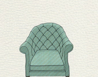 tufted chair (teal wave) - 5x7 print