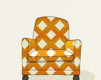modern chair 1 (yellow lattice) - 5x7 print