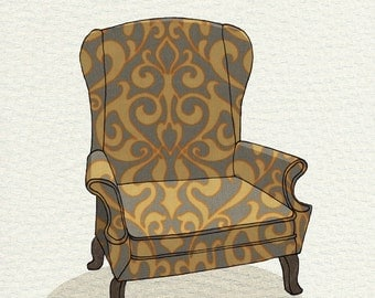 wingback (grey yellow damask) - 5x7 print