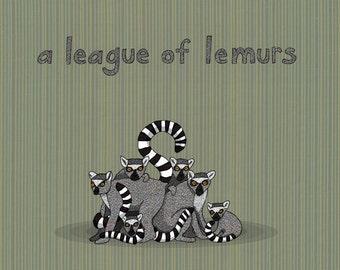 a league of lemurs - limited edition print 3/100