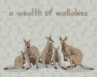 a wealth of wallabies - limited edition print 3/100