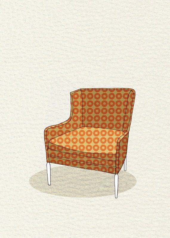 modern chair 3 (orange dot) - 5x7 print