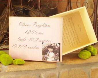 Custom Distressed Wooden Memory Box with Hand Painted Quote, and Space for Photo